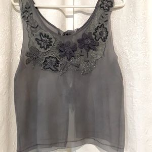 LN sheer gray silk blouse with crocheted detail